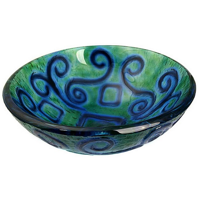 Aqua Blue Glass Vessel Bowl Sink - Thumbnail 0