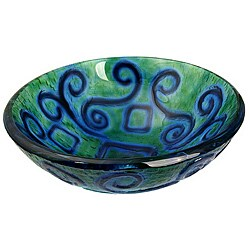 Aqua Blue Glass Vessel Bowl Sink