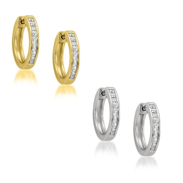 Montebello 14k Gold 1/2ct TDW Princess-cut Diamond Hoop Earrings (H-I, I1-I2)