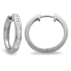Montebello 14k White Gold 1ct TDW Princess-cut Diamond Hoop Earrings - Thumbnail 1