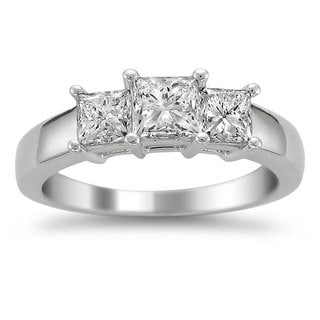 Montebello 14k White Gold 1 1/2ct TDW Diamond 3-stone Engagement Ring (H-I, I1-I2)