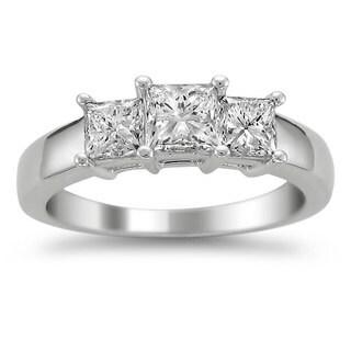 Montebello 14k White Gold 1 1/2ct TDW Diamond 3-stone Engagement Ring