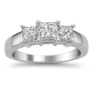 montebello 14k white gold 1 12ct tdw diamond 3 stone engagement ring - 3 Stone Wedding Rings