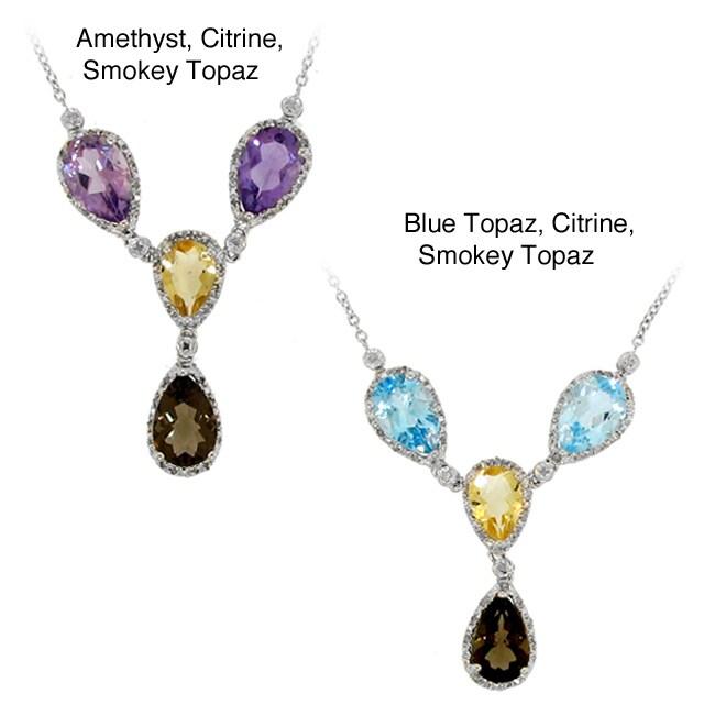 Silver Multi-gemstone and 1/4ct TDW Diamond Necklace (H-I, I2-I3)