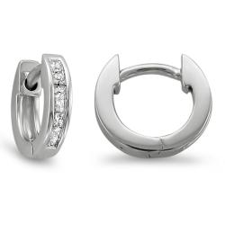 Montebello 14k White Gold 1/4ct TDW Princess Diamond Cuff Hoop Earrings (H-I, I1-I2)