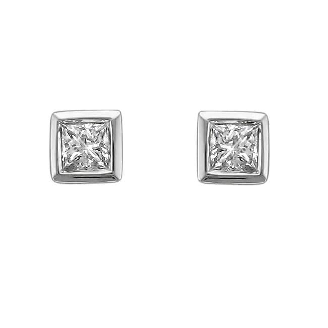 Montebello 14k White Gold 1/4ct TDW Diamond Princess Cut Bezel Earrings