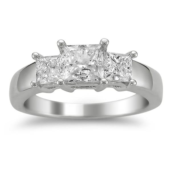 Montebello 14k White Gold 2ct TDW Diamond 3-stone Engagement Ring (H-I, I1-I2)