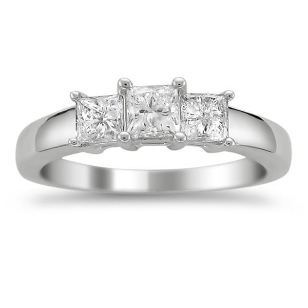 Montebello 14k White Gold 1ct TDW Diamond 3-stone Engagement Ring