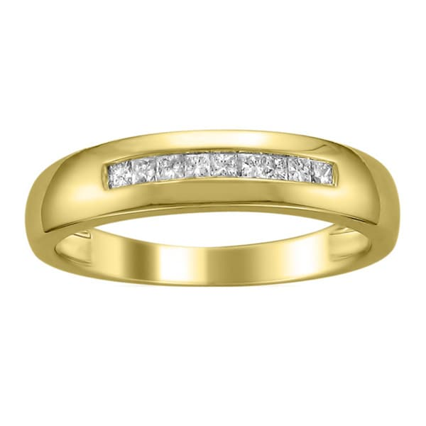 Montebello 14k Gold Men's 1/4ct TDW Diamond Wedding Band