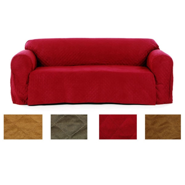 Quilted Micro Suede Sofa Slipcover