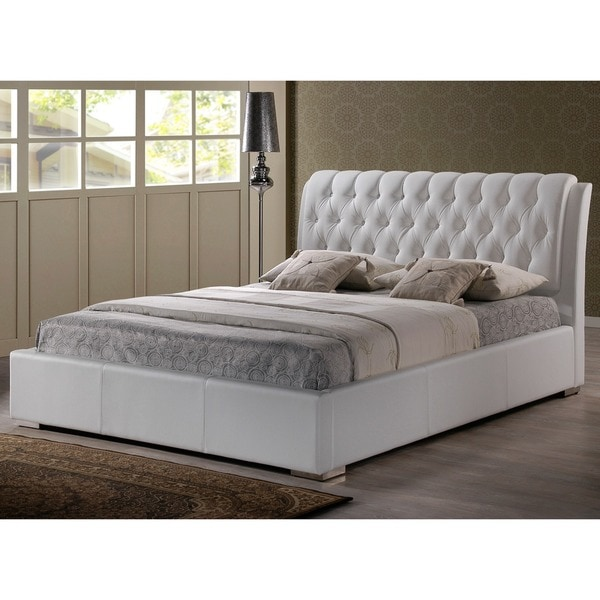 Bianca White Modern King-size Bed with Tufted Headboard