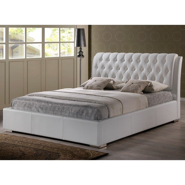 bianca white modern king size bed with tufted headboard