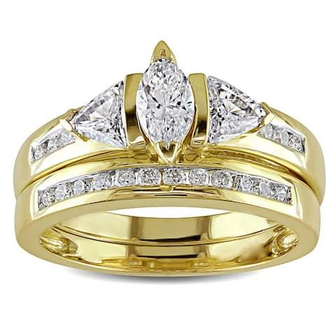Miadora Signature Collection 14k Yellow Gold 1ct TDW Certified Diamond Bridal Ring Set