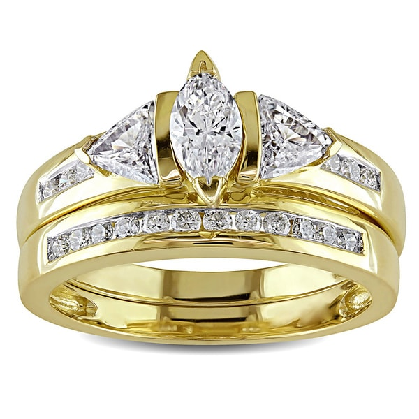 Miadora Signature Collection 14k Yellow Gold 1ct TDW Certified Diamond Bridal Ring Set