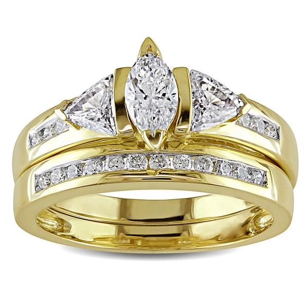Miadora Signature Collection 14k Yellow Gold 1ct TDW Certified Diamond Bridal Ring Set (G-H, I1-I2)