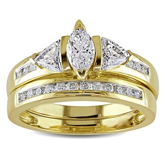 Miadora Signature Collection 14k Yellow Gold 1ct TDW Certified Diamond Bridal Ring Set (G-H, I1-I2)