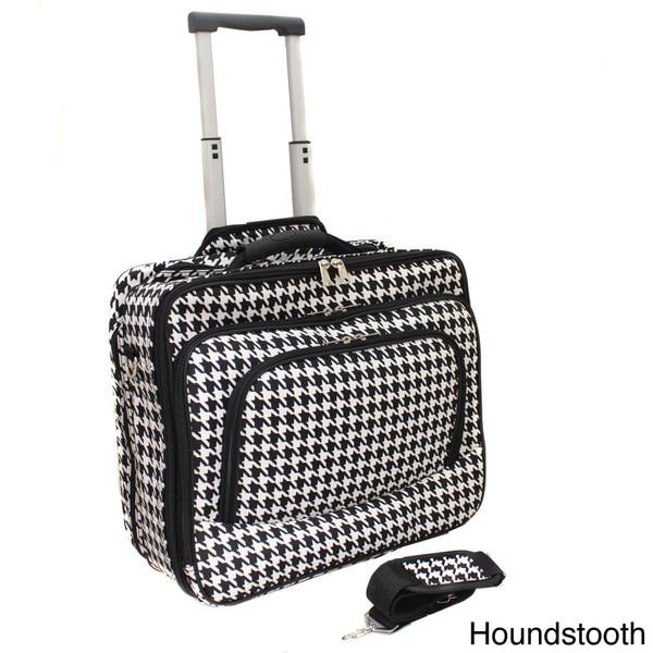 World Traveler Houndstooth Fashion Print Women's Rolling 17-inch Laptop Briefcase