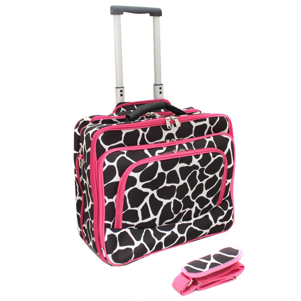 World Traveler Pink Trim Giraffe Fashion Print Women's Rolling 17-inch Laptop Briefcase