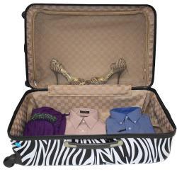 World Traveler Designer Prints Zebra 3-piece Lightweight Hardside Spinner Luggage Set - Thumbnail 2
