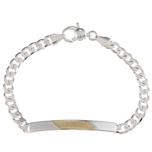 Sterling Silver and 18k Gold 5-mm Diagonal Section ID Link Bracelet