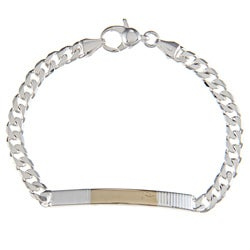 Sterling Silver and 18k Gold 4-mm Parallel Line ID Link Bracelet