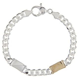 Sterling Silver and 18k Gold 6-mm Double Bar Link Bracelet