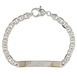 Sterling Silver and 18k Gold 5-mm Diagonal Line ID Link Bracelet