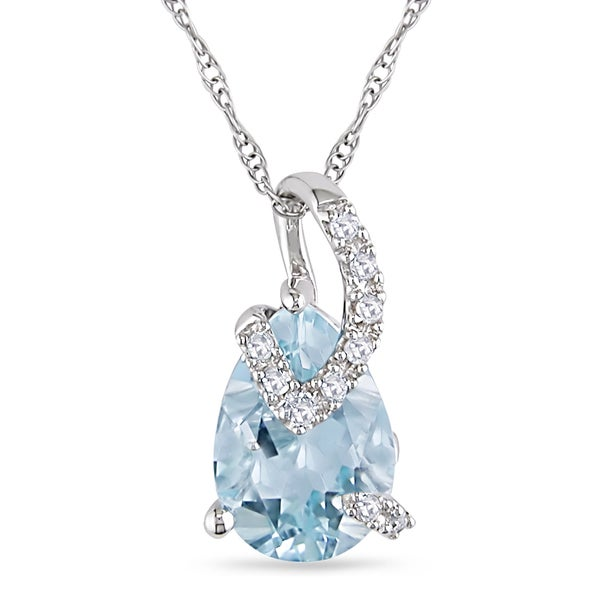 Miadora 10k Gold 2 1/4ct TGW Blue Topaz and Diamond Accent Necklace