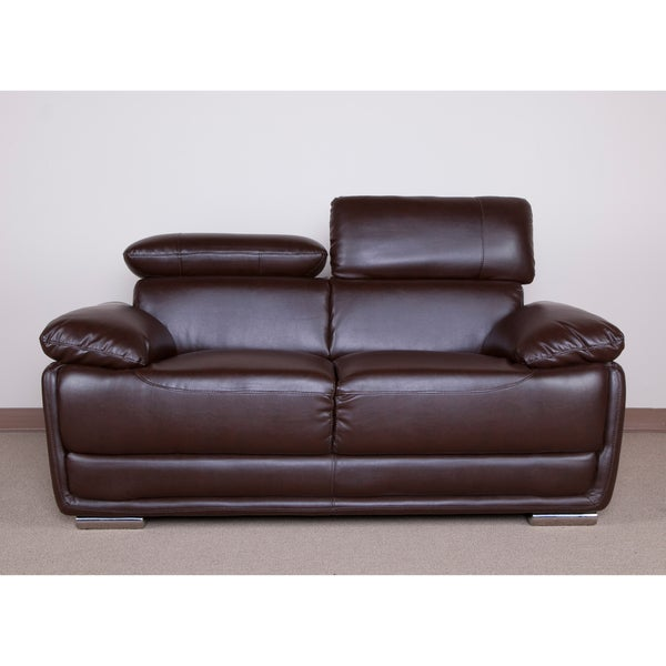 Kyle Brown Bonded Leather Loveseat