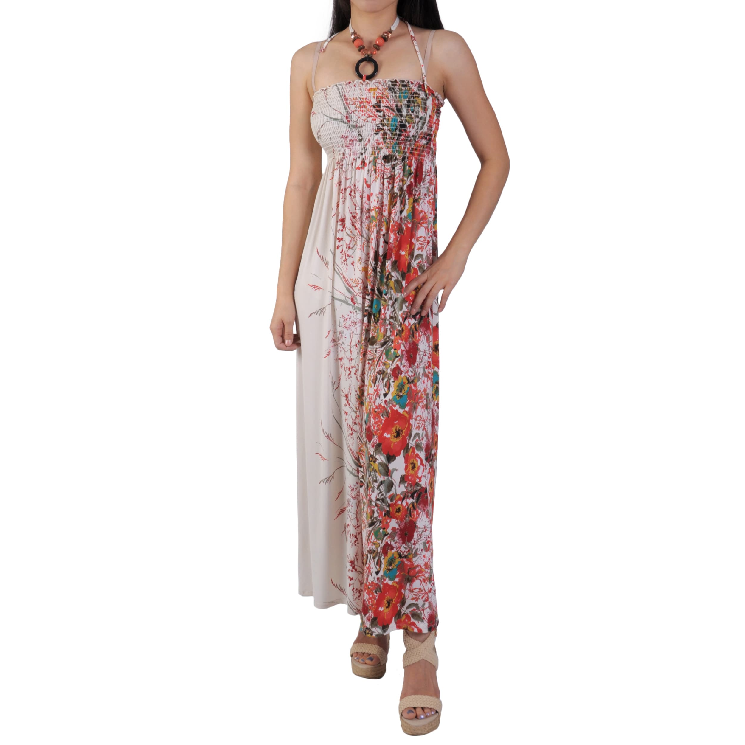 Ci Sono by Journee Juniors Floral Print Smocked Halter Top Sundress