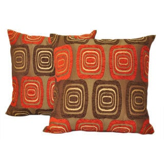 Sherry Kline 18-inch Retro Red Brown Pillows (Set of 2)