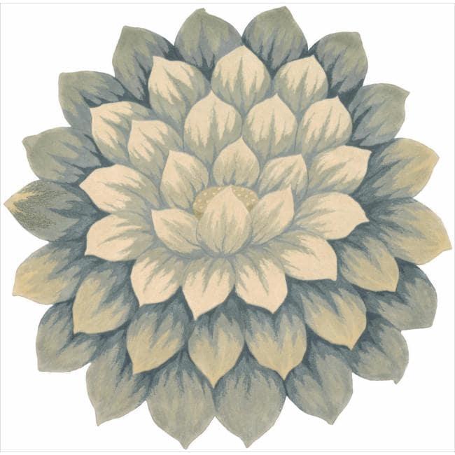 Nourison Hand-tufted Blue Bloom Rug (7'6 x 7'6)