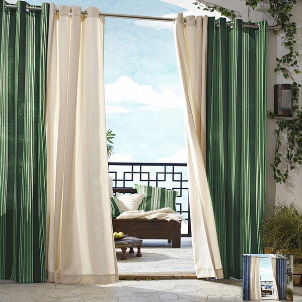 Shop Gazebo Stripe Grommet Top 96 Inch Indoor Outdoor Curtain Panel