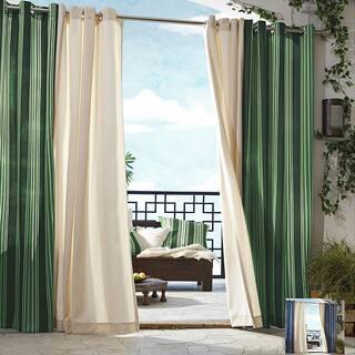 Gazebo Stripe Grommet Top 96 inch Indoor/ Outdoor Curtain Panel, color green
