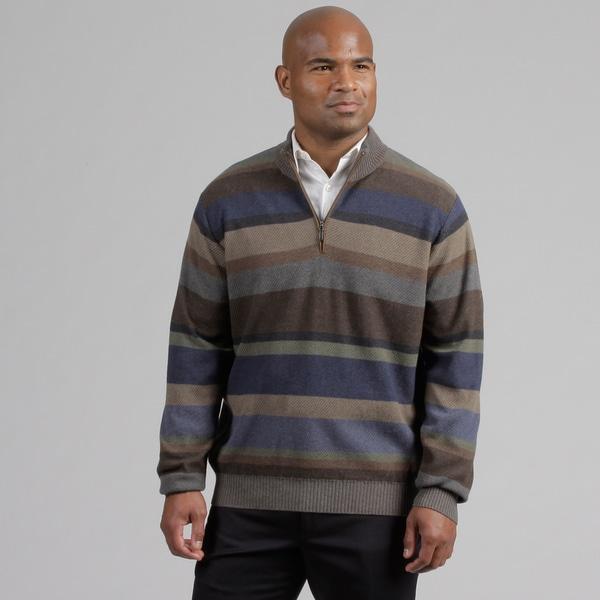 Alex Cannon Men's Textural Striped Quarter Zip Sweater FINAL SALE