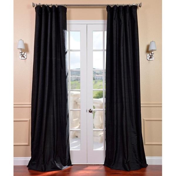 Exclusive Fabrics Black Dupioni Silk Curtain Panel
