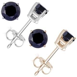 14k Gold 2ct TDW Black Diamond Stud Earrings
