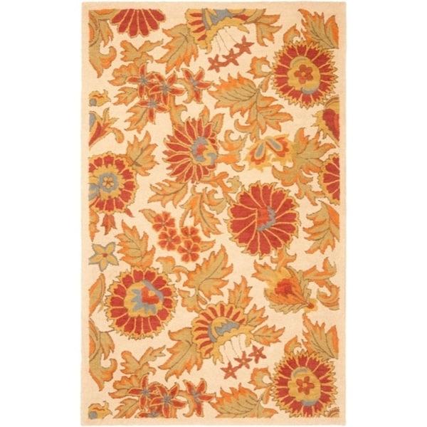"Safavieh Handmade Blossom Flowers Ivory Wool Rug - 8'-9"" x 12'"