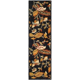 Safavieh Handmade Blossom Botanical Black Wool Rug (2'3 x 11')