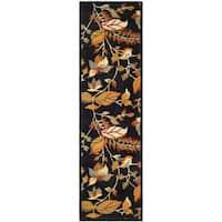 "Safavieh Handmade Blossom Botanical Black Wool Rug - 2'3"" x 11'"