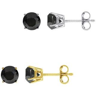 14k Gold 1ct TDW Black Diamond Stud Earrings