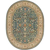"Safavieh Handmade Antiquities Mahal Blue/ Beige Wool Rug - 7'6"" x 9'6"" oval"