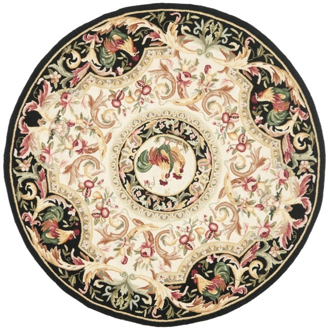 Safavieh Hand-hooked Rooster Ivory/ Black Wool Rug (3' Round)