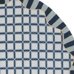 Safavieh Hand-hooked Chelsea Ivory/ Blue Wool Rug (8' Round) - Thumbnail 1
