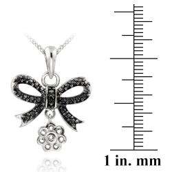 DB Designs Sterling Silver Black Diamond Accent Dangling Bow Necklace - Thumbnail 2