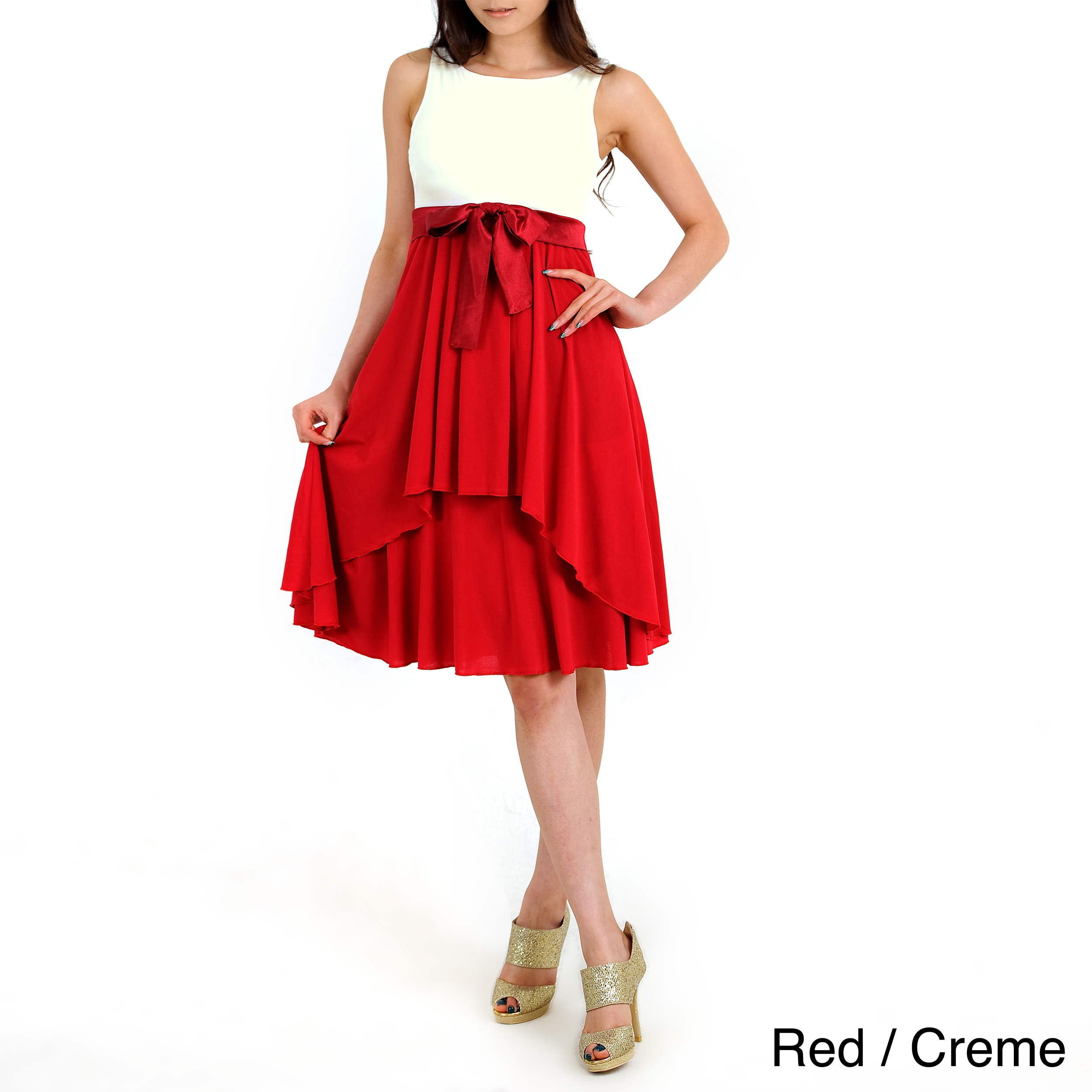 Evanese Women's Two Tone Pleated Dress (xL - Red/Creme), ...
