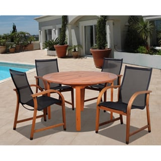 amazonia cosmopolitan 5 piece eucalyptus wood round dining set with black sling chairs free. Black Bedroom Furniture Sets. Home Design Ideas
