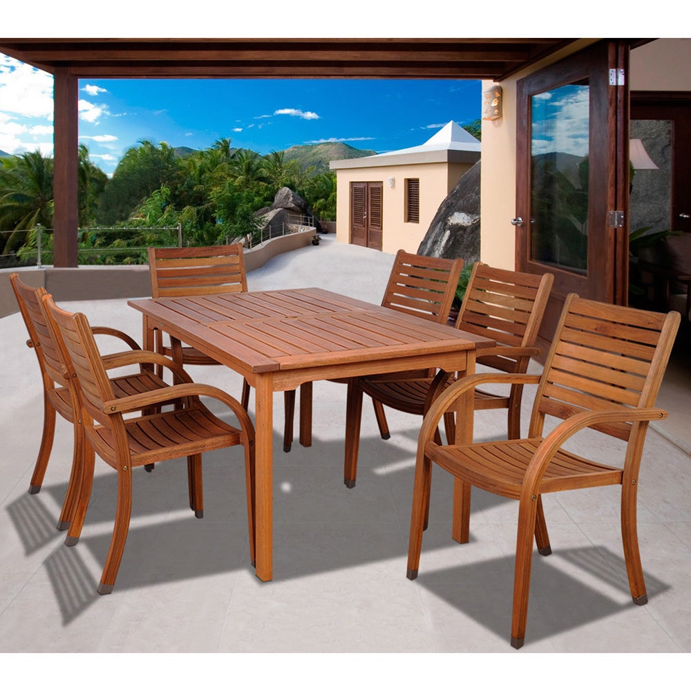 Amazonia Riviera 7 Piece Eucalyptus Wood Rectangular Dining Set