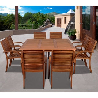 Clay Alder Home Barclay 9-piece Eucalyptus Wood Square Dining Set