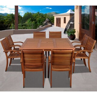 Amazonia Riviera 9 Piece Eucalyptus Wood Square Dining Set